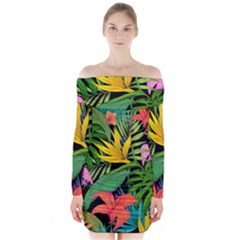 Tropical Adventure Long Sleeve Off Shoulder Dress