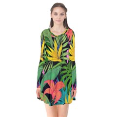 Tropical Adventure Long Sleeve V-neck Flare Dress