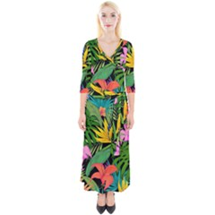 Tropical Adventure Quarter Sleeve Wrap Maxi Dress