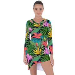Tropical Adventure Asymmetric Cut-out Shift Dress