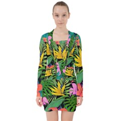 Tropical Adventure V Neck Bodycon Long Sleeve Dress