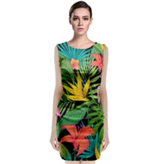 Tropical Adventure Sleeveless Velvet Midi Dress