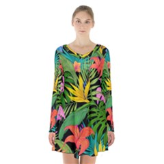 Tropical Adventure Long Sleeve Velvet V Neck Dress