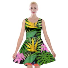 Tropical Adventure Velvet Skater Dress