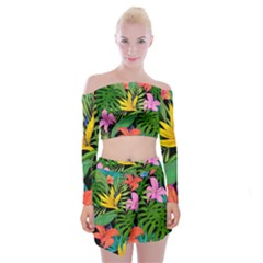 Tropical Adventure Off Shoulder Top With Mini Skirt Set