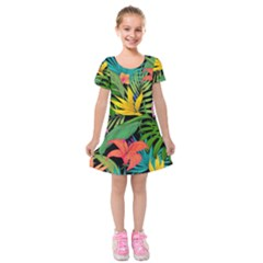 Tropical Adventure Kids  Short Sleeve Velvet Dress