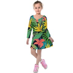 Tropical Adventure Kids  Long Sleeve Velvet Dress