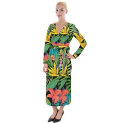 Tropical Adventure Velvet Maxi Wrap Dress