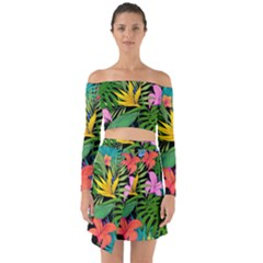 Tropical Adventure Off Shoulder Top With Skirt Set