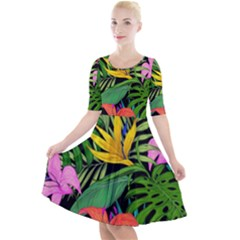 Tropical Adventure Quarter Sleeve A Line Dress