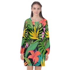 Tropical Adventure Long Sleeve Chiffon Shift Dress