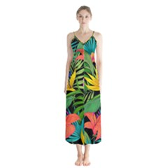 Tropical Adventure Button Up Chiffon Maxi Dress