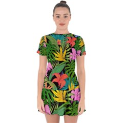 Tropical Adventure Drop Hem Mini Chiffon Dress