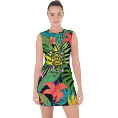 Tropical Adventure Lace Up Front Bodycon Dress