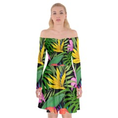 Tropical Adventure Off Shoulder Skater Dress