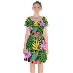 Tropical Adventure Short Sleeve Bardot Dress
