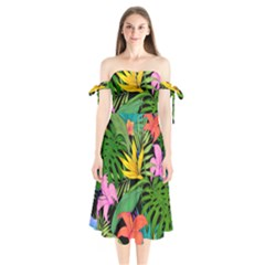 Tropical Adventure Shoulder Tie Bardot Midi Dress by retrotoomoderndesigns