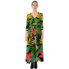 Tropical Adventure Button Up Boho Maxi Dress