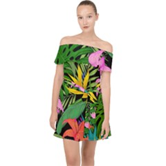 Tropical Adventure Off Shoulder Chiffon Dress