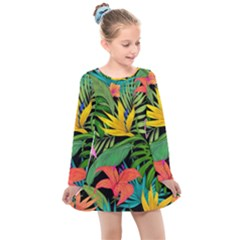 Tropical Adventure Kids  Long Sleeve Dress