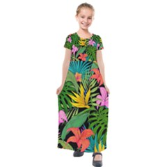 Tropical Adventure Kids  Short Sleeve Maxi Dress