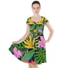 Tropical Adventure Cap Sleeve Midi Dress