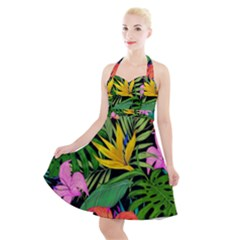 Tropical Adventure Halter Party Swing Dress