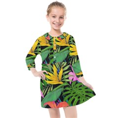Tropical Adventure Kids  Quarter Sleeve Shirt Dress