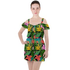 Tropical Adventure Ruffle Cut Out Chiffon Playsuit