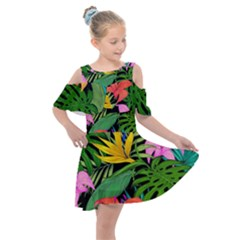 Tropical Adventure Kids  Shoulder Cutout Chiffon Dress