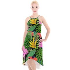 Tropical Adventure High Low Halter Chiffon Dress