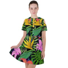 Tropical Adventure Short Sleeve Shoulder Cut Out Dress
