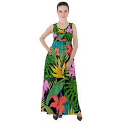 Tropical Adventure Empire Waist Velour Maxi Dress