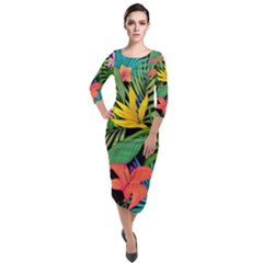 Tropical Adventure Quarter Sleeve Midi Velour Bodycon Dress