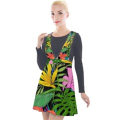 Tropical Adventure Plunge Pinafore Velour Dress