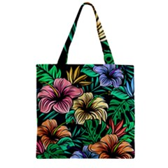 Hibiscus Dream Zipper Grocery Tote Bag