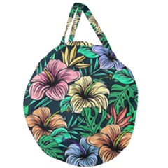 Hibiscus Dream Giant Round Zipper Tote