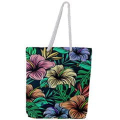 Hibiscus Dream Full Print Rope Handle Tote (large)