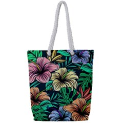 Hibiscus Dream Full Print Rope Handle Tote (small)