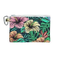 Hibiscus Dream Canvas Cosmetic Bag (medium)