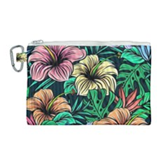 Hibiscus Dream Canvas Cosmetic Bag (large)