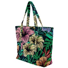 Hibiscus Dream Zip Up Canvas Bag