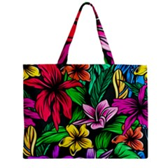Neon Hibiscus Mini Tote Bag