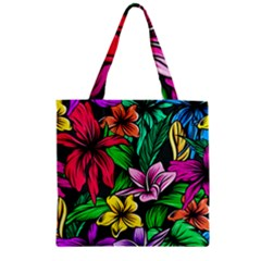 Neon Hibiscus Zipper Grocery Tote Bag
