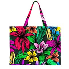 Neon Hibiscus Zipper Large Tote Bag
