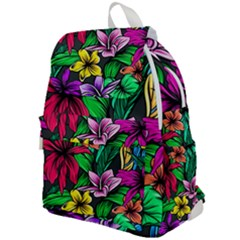 Neon Hibiscus Top Flap Backpack