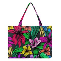 Neon Hibiscus Medium Tote Bag