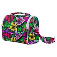 Neon Hibiscus Satchel Shoulder Bag