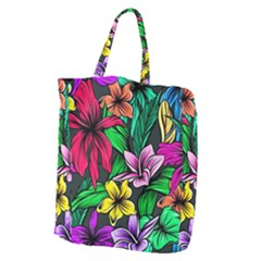 Neon Hibiscus Giant Grocery Tote