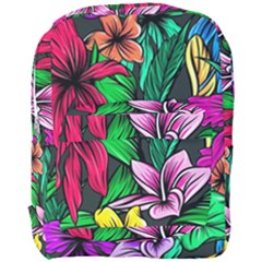 Neon Hibiscus Full Print Backpack